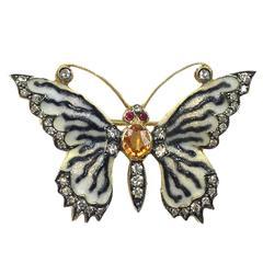 Gorgeous Enamel Mandarin Garnet Ruby Diamond Gold Butterfly Brooch Pin