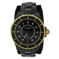 Chanel Yellow Gold Diamond Black Ceramic J12 Quartz Wristwatch