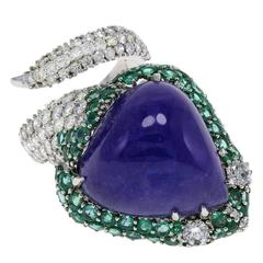 "Tanzanite Emerald Diamond Gold ""Snake"" Ring"