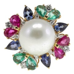 Australian Pearl, Rubies Emeralds and Sapphires Drops, White and Rose Gold Ring