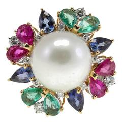 Australian Large Pearl Multicolor Stones Diamond Gold Ring
