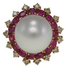 Australian Large Pearl Ruby Diamond Gold Ring