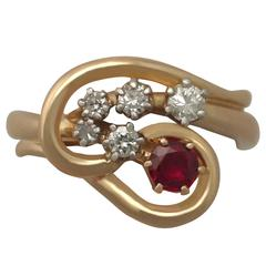 1950s Ruby and Diamond Yellow Gold Cocktail Ring