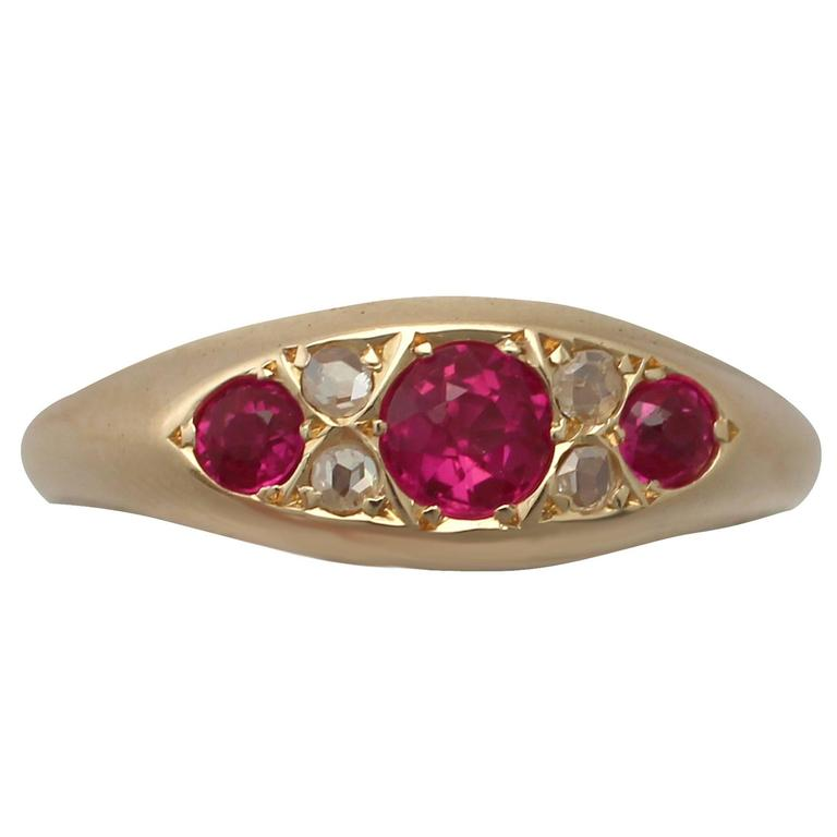 1910s Synthetic Ruby and Diamond Yellow Gold Cocktail Ring