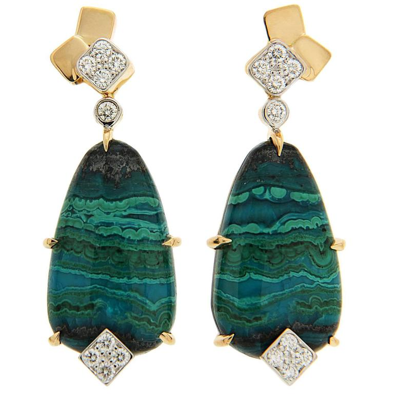 Special Cut Chrysocolla Tenorite Diamond Gold Earrings 1