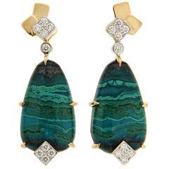 Valentin Magro Special Cut Chrysocolla Tenorite Diamond Gold Earrings