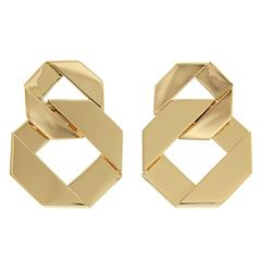 Double Fold Over Link Gold Earrings