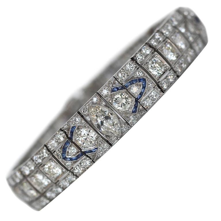 1940s Ornate Art Deco 11.50 Carat Diamonds Sapphire Platinum Bracelet