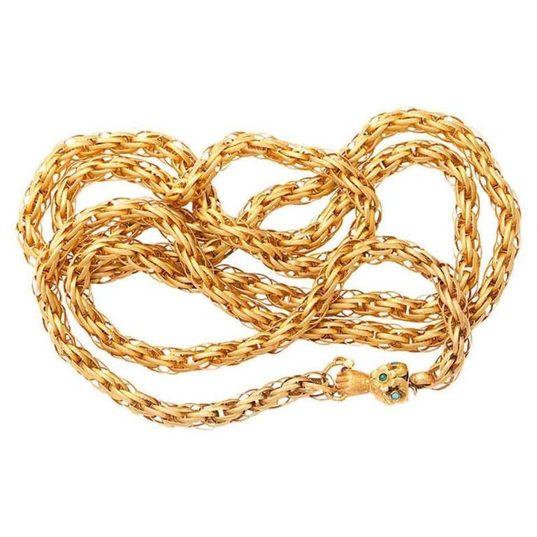 Gold Chains For Sale >> Georgian Twisted And Braided Gold Chain With Hand Clasp At 1stdibs