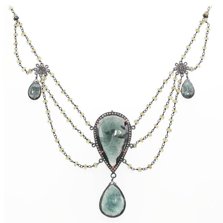 Moss Aquamarine Peridot Diamond Sterling Silver Multi-Strand Necklace