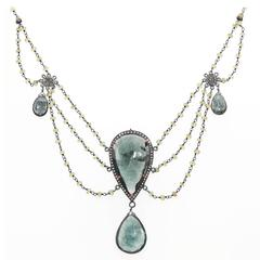 Moss Aquamarine Peridot Diamond Sterling Silver Multi-Strand Necklace