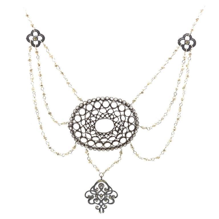 White Topaz Diamond Sterling Silver Multi-Strand Necklace