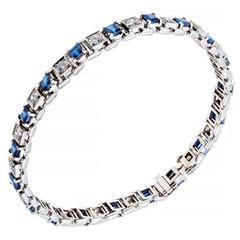 Square Sapphire Diamond Platinum Bracelet