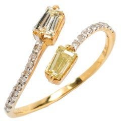 Diamond Gold Bypass Ring