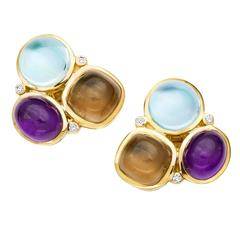 Cassandra Goad Amethyst Smoky Quartz Blue Topaz Gold Fuscata Earrings