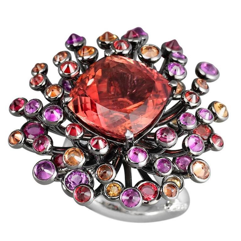 Lorenz Bäumer Tourmaline Sapphire Diamond Gold Chardon Ring 1