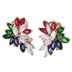 Multi-Gem Ruby Emerald Sapphire Diamond Gold Cluster Earrings