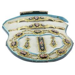 Georgian Swiss Enamel Panel Gilt Pinchbeck Complete 5 Piece Jewelry Set