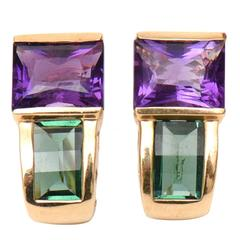 Green Tourmaline Amethyst Gold Pierced Earrings