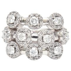 Stunning Three-Row 14 Karat White Gold Diamond Trembler Ring