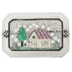 Exquisite Art Deco Enamel Tutti Frutti Platinum Brooch