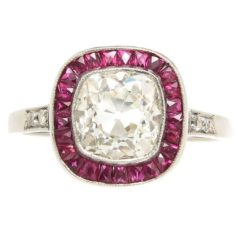 French Cut Ruby Cushion Diamond Platinum Engagement Ring For Sale