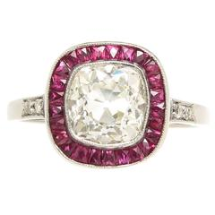 French Cut Ruby Cushion Diamond Platinum Engagement Ring