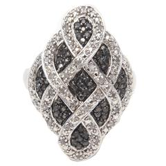 Combination of White and Black Diamonds Sterling Silver Ring
