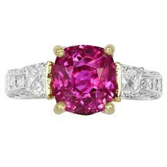 5.18 Carat Cushion Cut Ruby Gold Platinum Ring