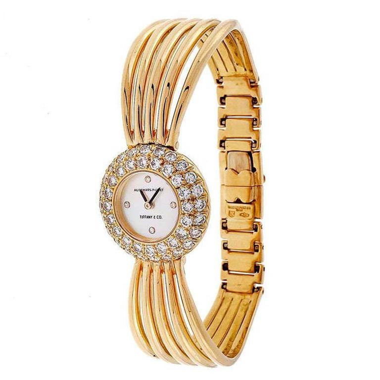 Audemars Piguet For Tiffany & Co. Ladies Diamond Gold Bracelet Wristwatch