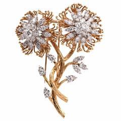 Retro Diamond Gold Flower Brooch Pin