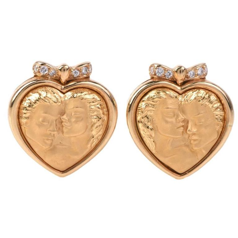 Carrera y Carrera Romeo Juliet Diamond Gold Heart Earrings For Sale