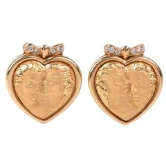 Carrera y Carrera Romeo Juliet Diamond Gold Heart Earrings