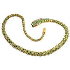 French Antique Enamel Gold Snake Necklace with Gem-Set Head