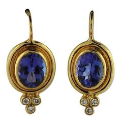 Temple St. Clair Faceted Tanzanite Diamond Gold Earrings