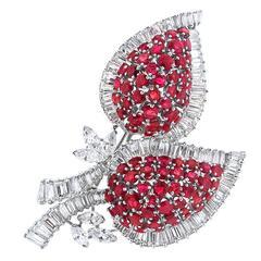 1940s Ruby and Diamond Platinum Brooch