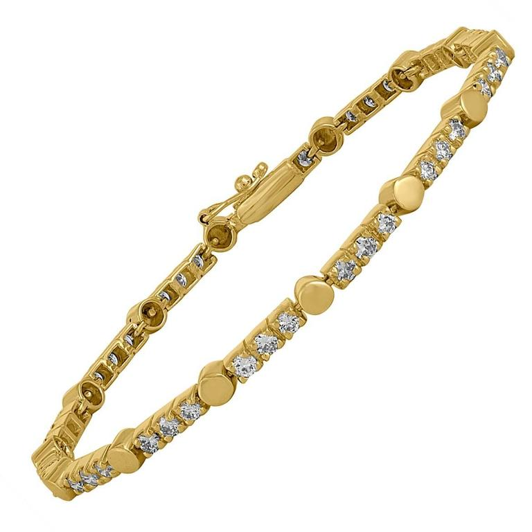 1.05 Carats Diamonds Gold Bracelet