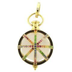 Temple St. Clair Gold Multi Sapphire Diamond Cosmic Amulet Pendant
