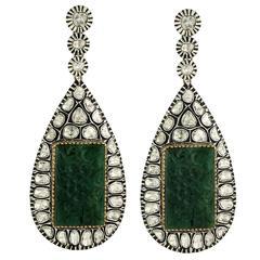 Carved Emerald Rosecut Diamond Earrings
