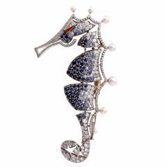 Sapphire Pearl Diamond Gold Seahorse Animal Pin