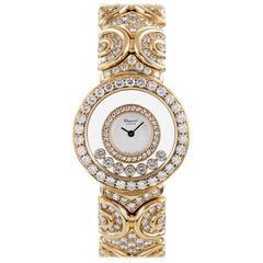 Chopard Ladies Yellow Gold Happy Diamonds Sport Wristwatch