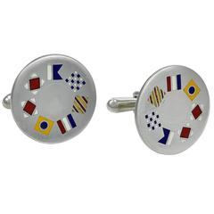 Tiffany & Co. Enamel Sterling Silver Nautical Cuff Links