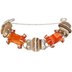 Scottish Carved Agate and Sterling Silver Bracelet
