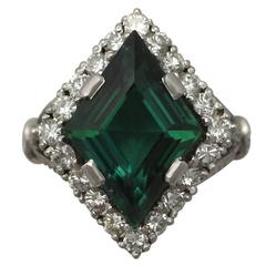 1940s 6.02 Carat Tourmaline and Diamond White Gold Cocktail Ring