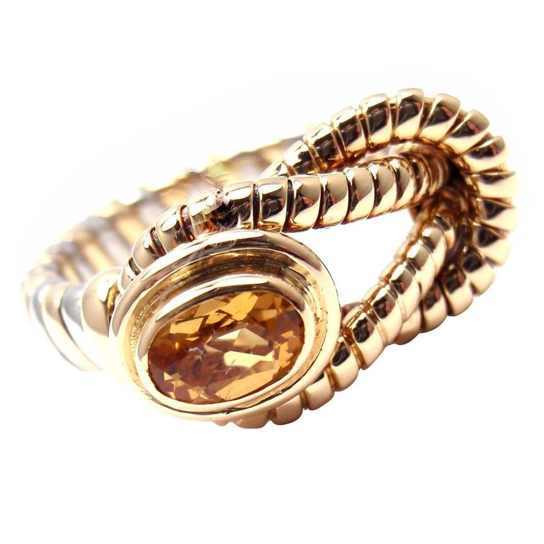 Cartier Citrine Stainless Steel Gold Hercules Knot Band Ring For Sale