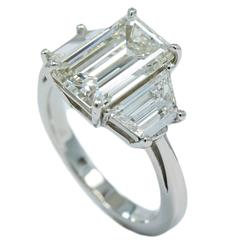 3.06 Carat Diamond Three-Stone Engagement Ring with Bez Ambar Platinum Mounting