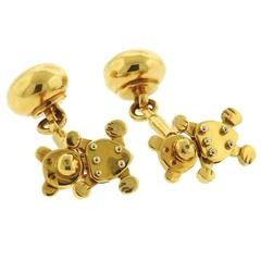 Pomellato Gold Teddy Bear Movable Cufflinks