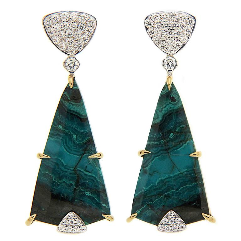 Chrysocolla Malachite Earrings with Diamond Pave Triangular Top  For Sale