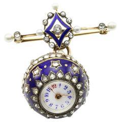 Antique Blue Enamel Diamond Orb Ball Lapel Watch