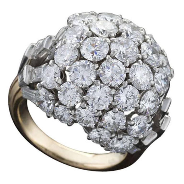 Boucheron Paris 1950's Diamond Gold and Platinum Bombé Ring 1